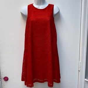 Dresses & Skirts - Mi Ami red lace overlay zip up mini dress size XS